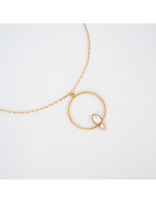 Collier lili cercle et 2 pierres goute - Aurélie Joliff
