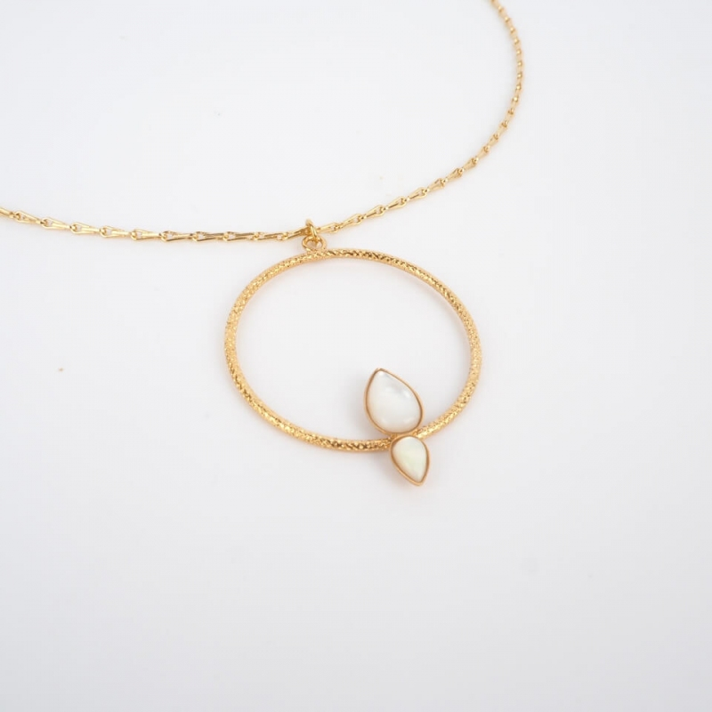 Gold Necklace with 2 drop...