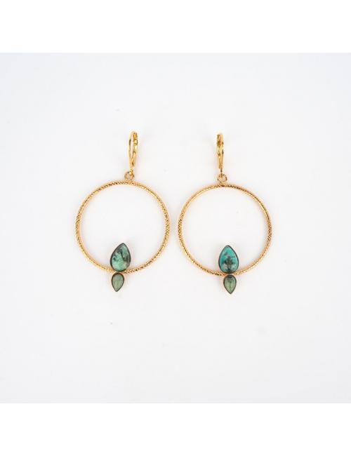 Boucles d'oreilles fidji rhodonite - Aurélie Joliff