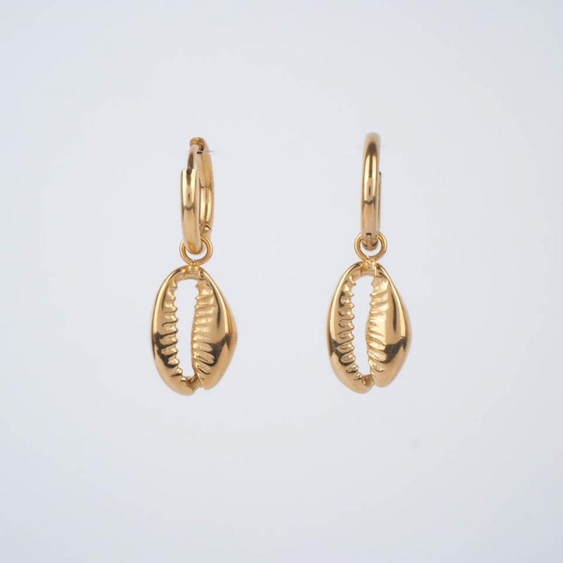 Shell hoop earrings in...