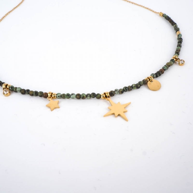 Green necklace in steel -...
