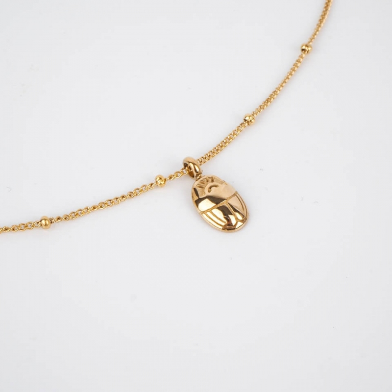 Scarab necklace steel gold...