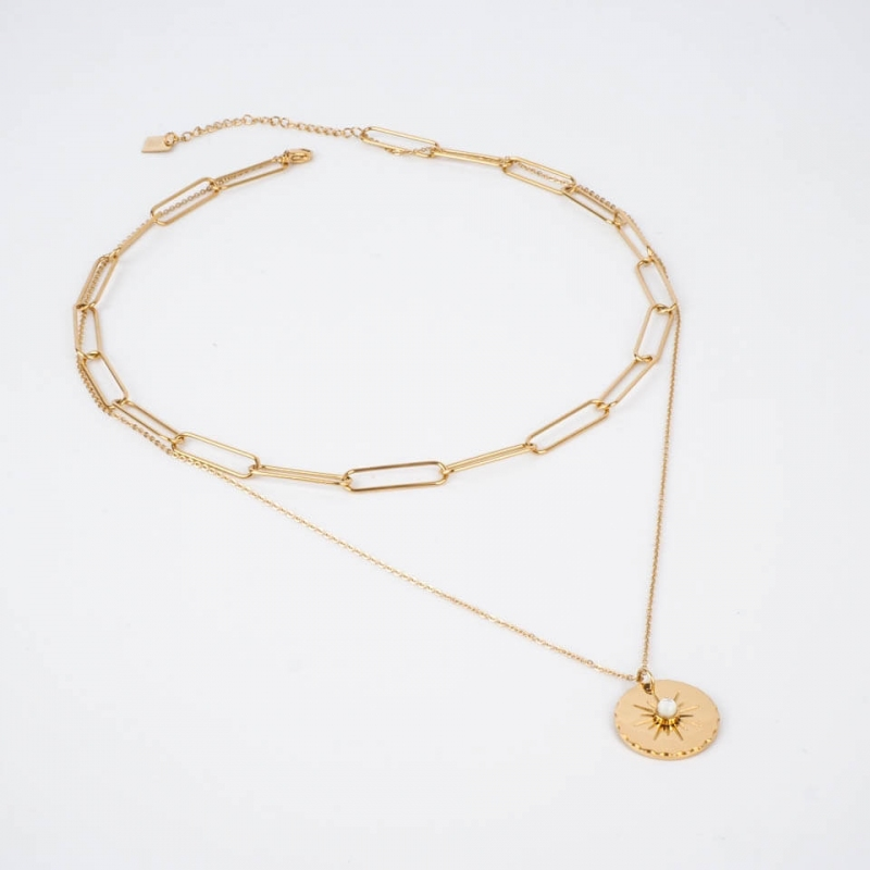 Ewen necklace steel gold -...