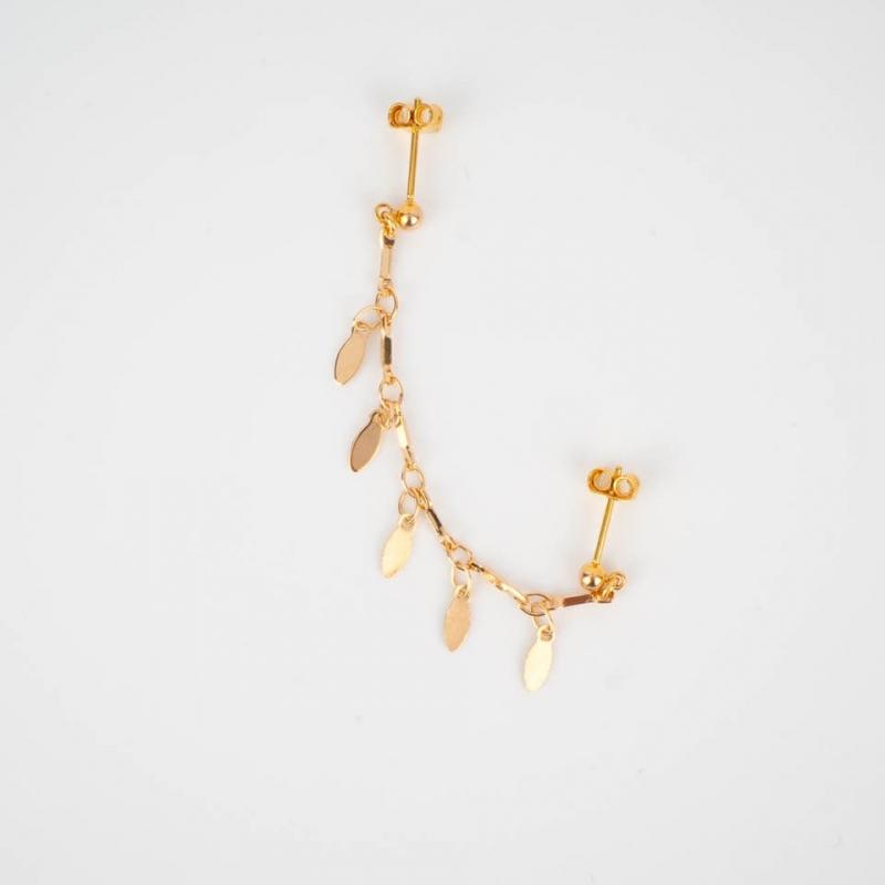 Gold single ear earring -...
