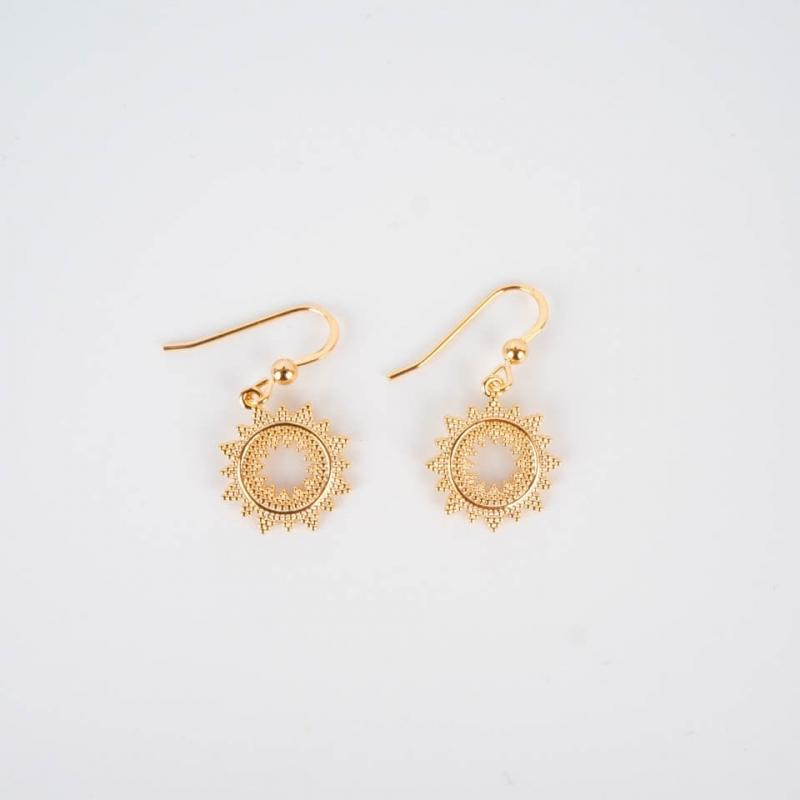 Gold plated sun earrings -...
