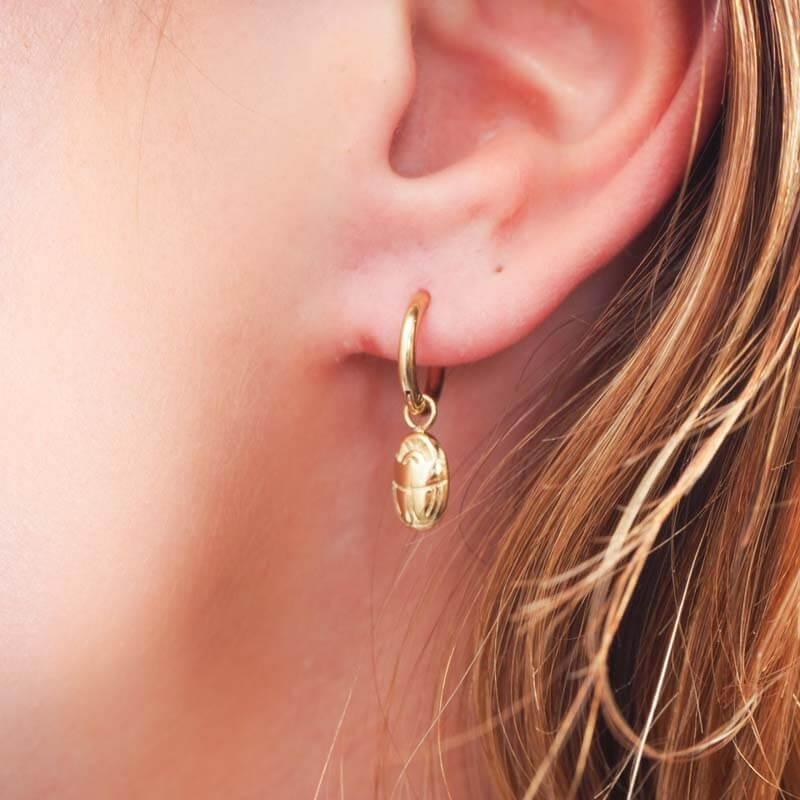 Scarab hoop earrings steel...