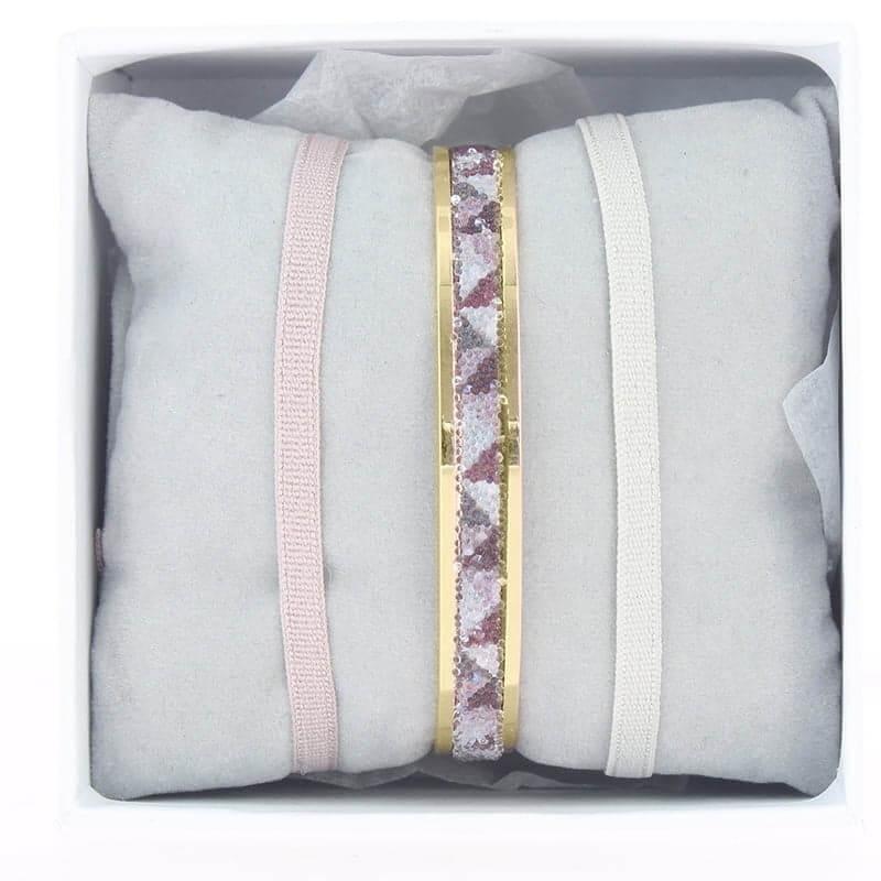 Coffret jonc ruban 4mm Tetris beige rose - Les Interchangeables