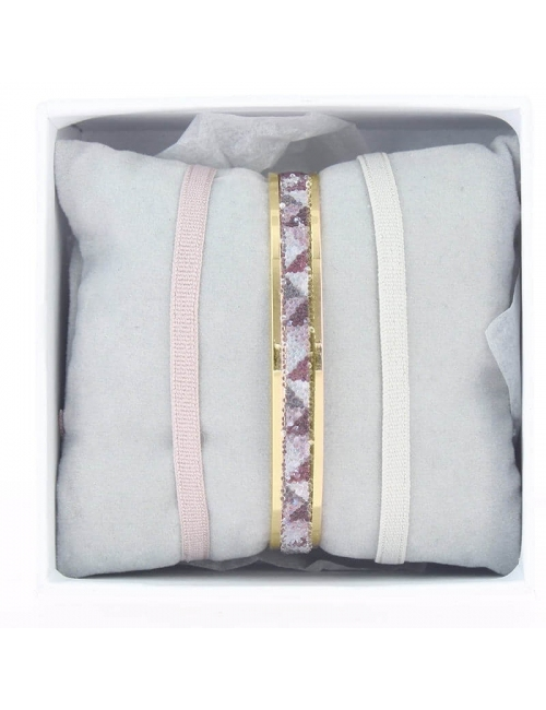 Box bangle ribbon 4mm beige pink - Les Interchangeables