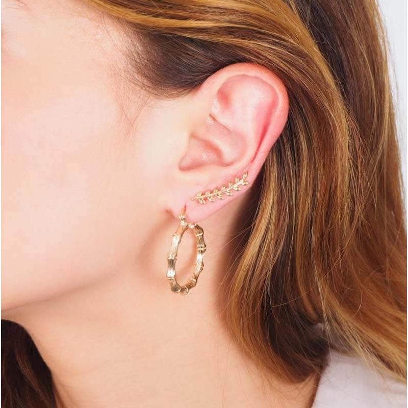 Gold bamboo hoop earrings -...