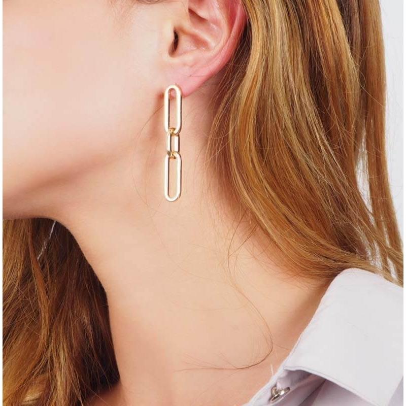 Gold curb earrings - Pomme...