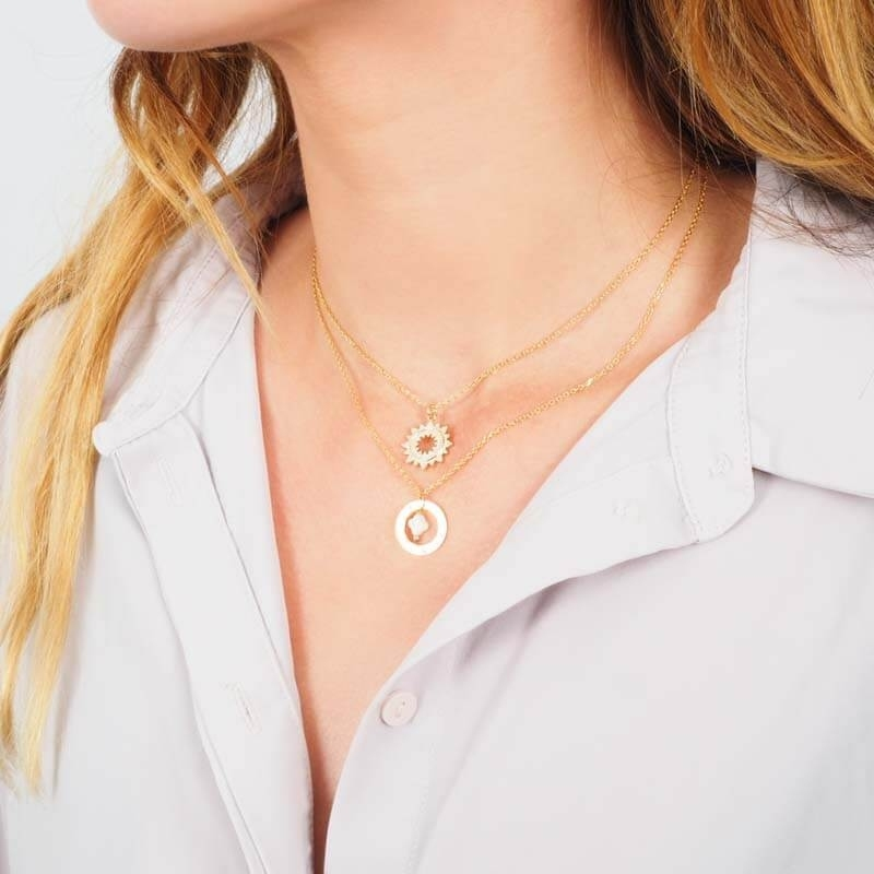 Gold Plated Sun Necklace -...