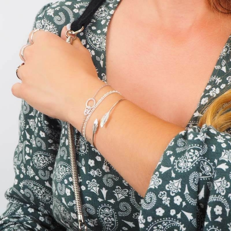 Feathers duo silver bangle...