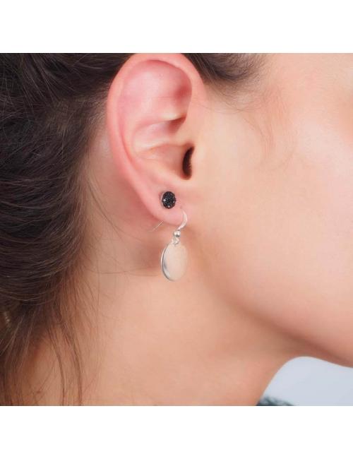 Boucles d'oreilles pastille lisse argent - Pomme Cannelle