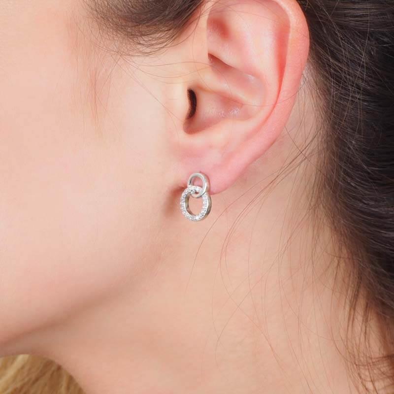 Boucles d'oreilles anneaux entrelacés - Pomme Cannelle