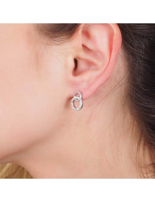 Linked silver rings earrings - Pomme Cannelle