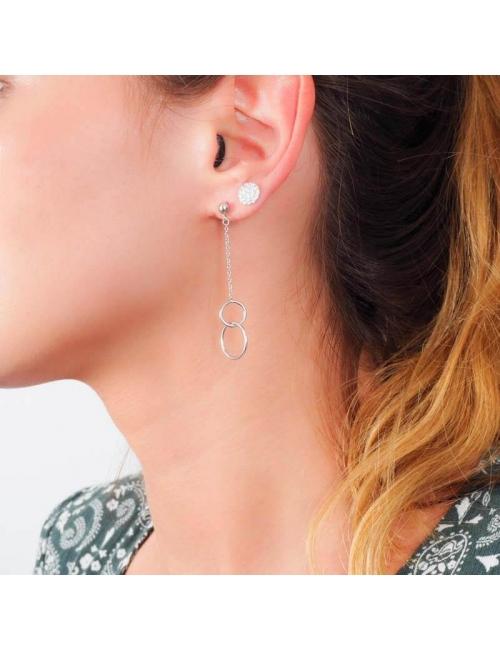 Boucles d'oreilles double cercle argent - Pomme Cannelle