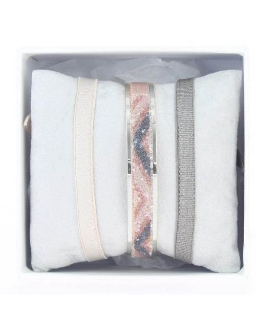Box bangle ribbon 6mm V grey - Les Interchangeables
