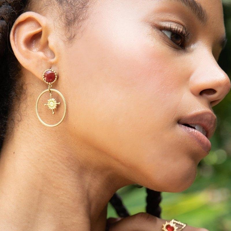 Compass stone earrings -...