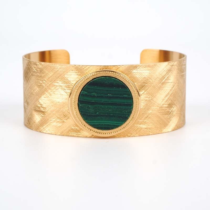 Bracelet Bata vert acier or...