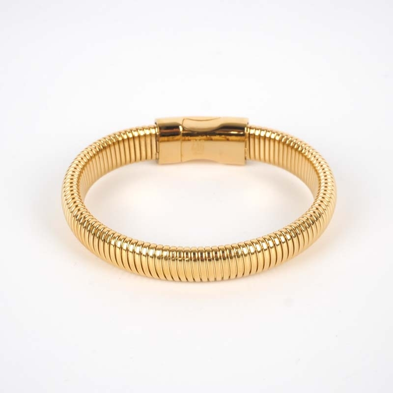 Bracelet jonc Ay acier or -...