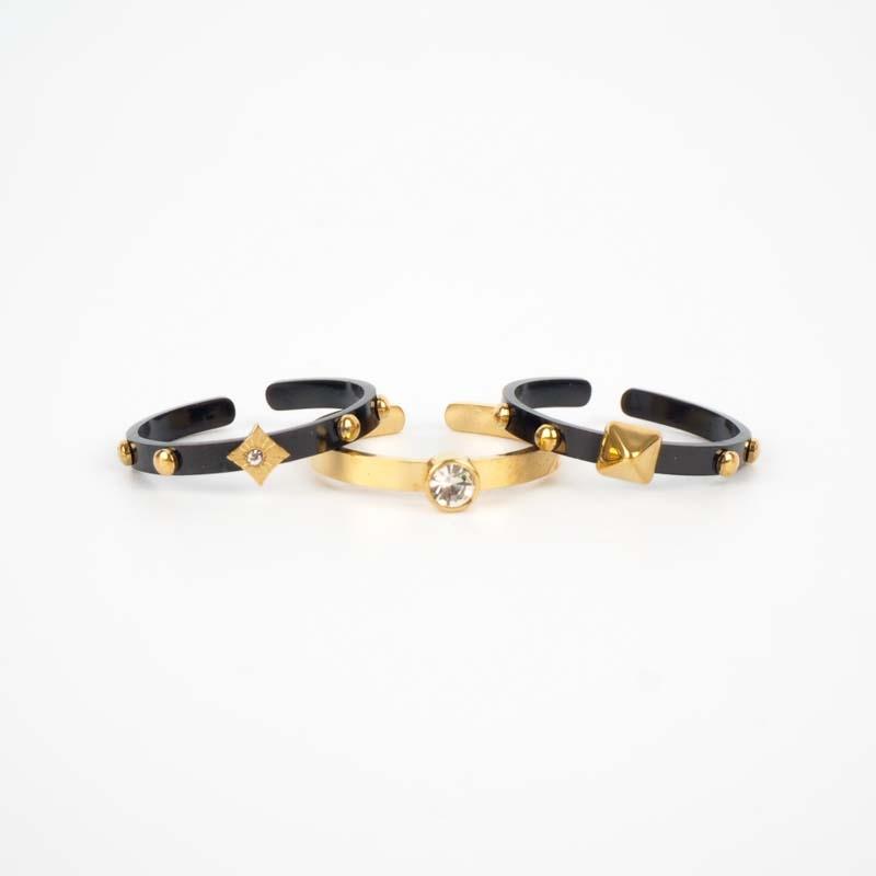 Bague trio noir et or -...