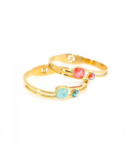 Duo insolite coral gold bangle bracelet - Bohm Paris