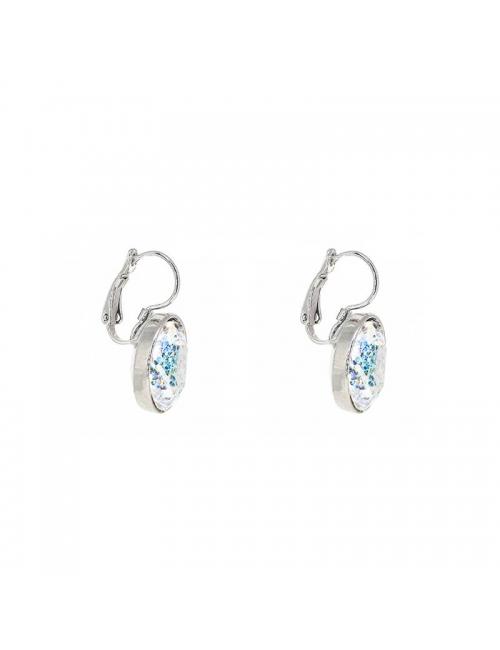 Oval crystal patina silver earrings - Bohm Paris