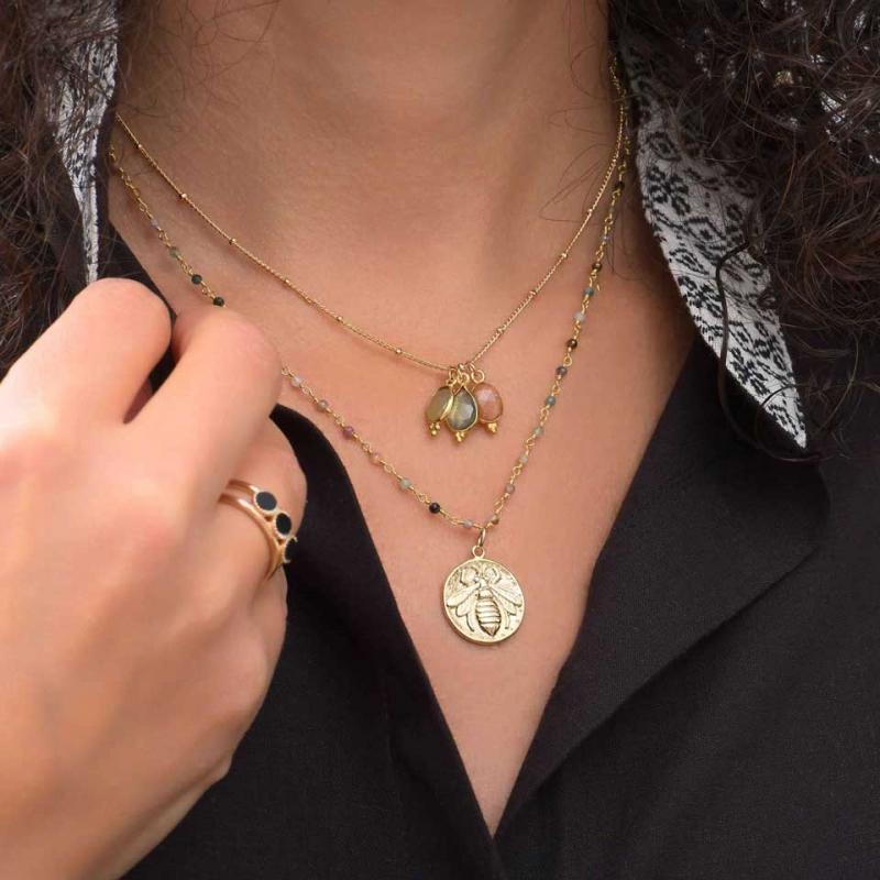 Bague 3 perles or - By164...