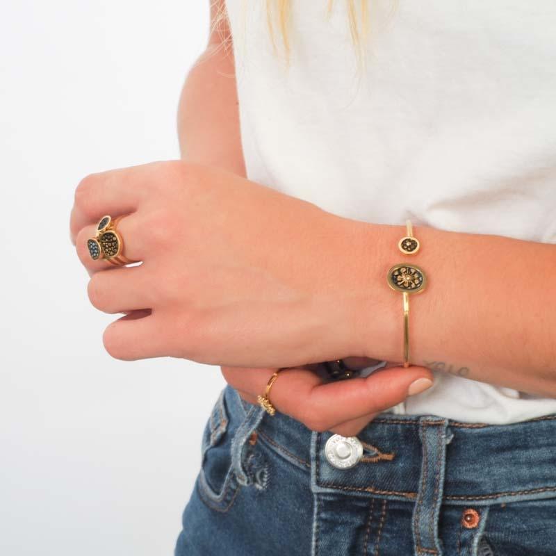 Bracelet jonc lézard or -...