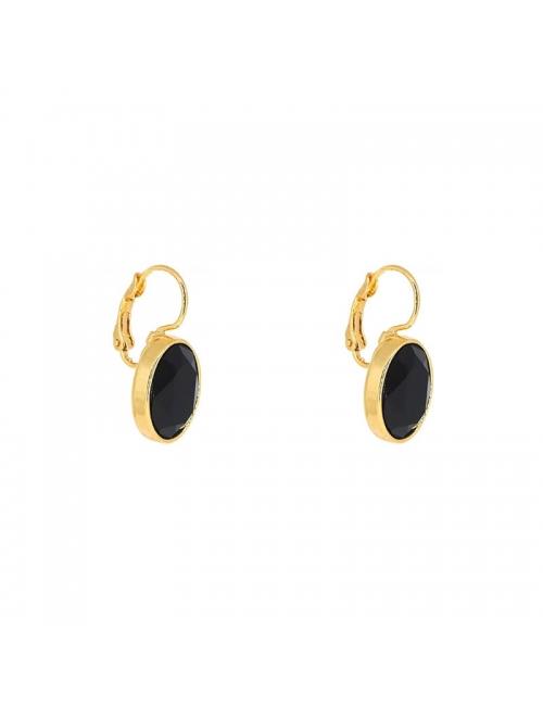 Oval black jet gold earrings - Bohm Paris
