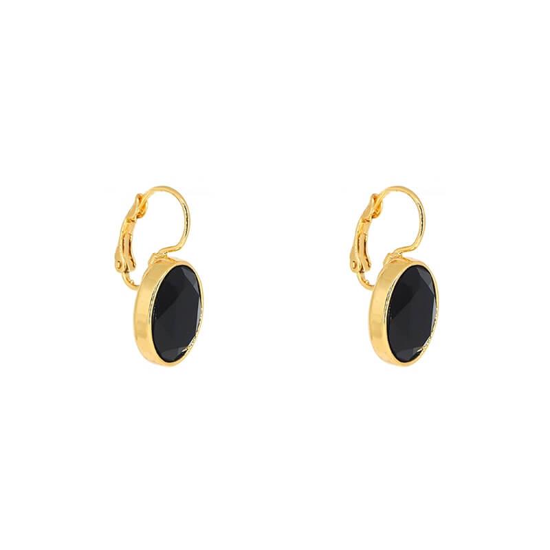 Boucles d'oreilles ovales black jet acier jaune - Bohm Paris