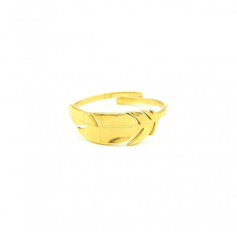 Bague plume en acier jaune - Zag bijoux
