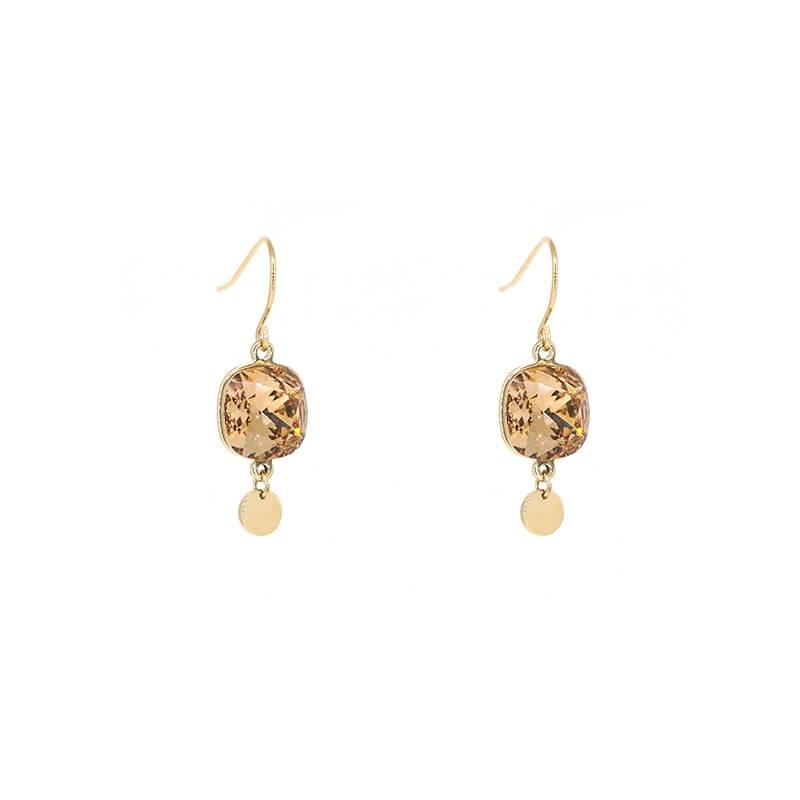 Square bis topaze gold earrings - Bohm Paris