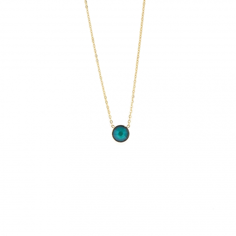 Collier mini rond green -...