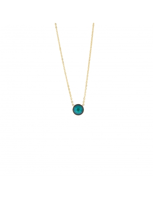 Mini round green gold necklace - Bohm Paris