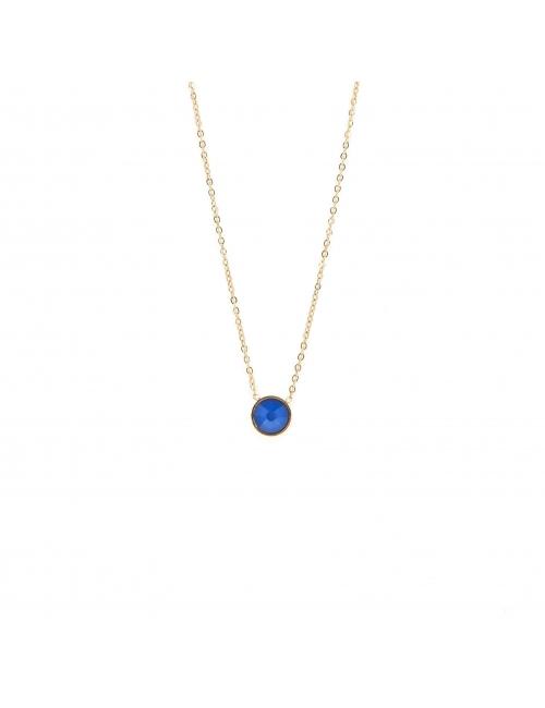 Mini round blue gold necklace - Bohm Paris