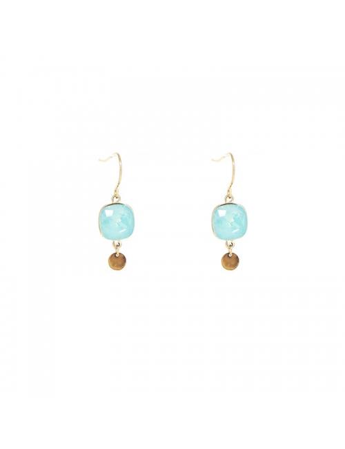 Square bis pacific gold earrings - Bohm Paris