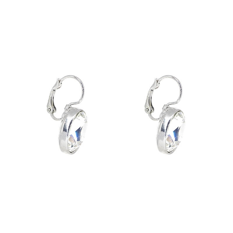 Oval crystal silver earrings - Bohm Paris