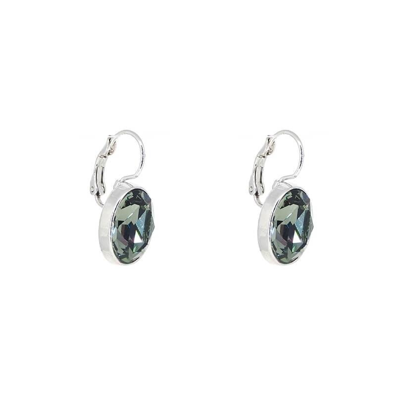 Oval grey silver earrings -...