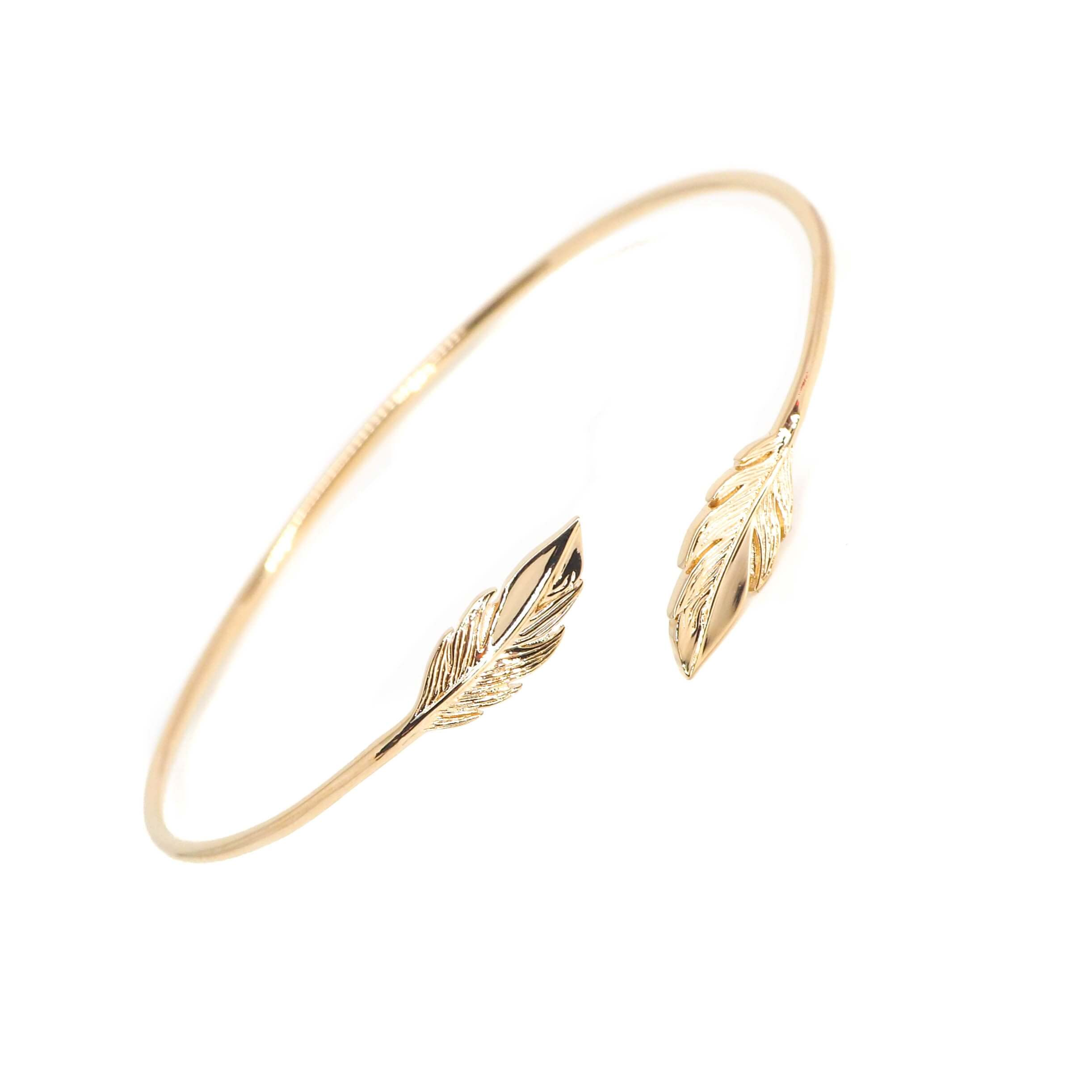 Bracelet jonc plumes duo en plaqué or - Les créations de Lili