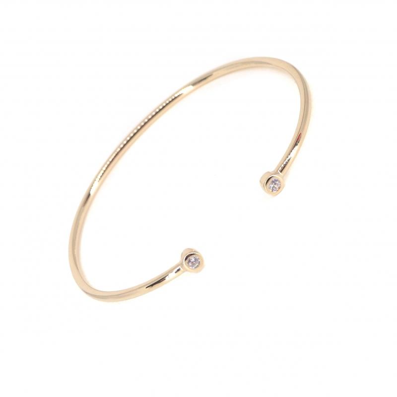 Bracelet jonc brillants en plaqué or - Les créations de Lili